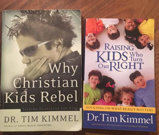 Image of two books. The book on the left is Why Christian Kids Rebel by Dr. Tim Kimmel. The book on the right is Raising Kids Who Turn Out Right by Dr. Tim Kimmel.